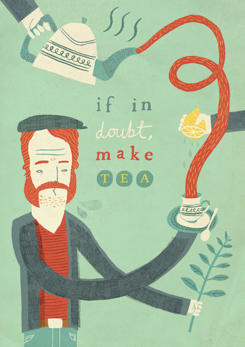 """If in doubt, make tea"" by Owen Davey"