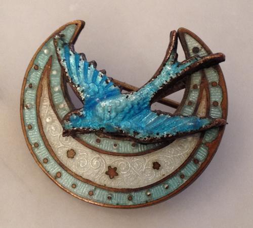 Blue bird and moon pin