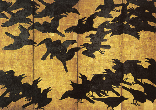 Crows-detail of Japanese screen-c 1650