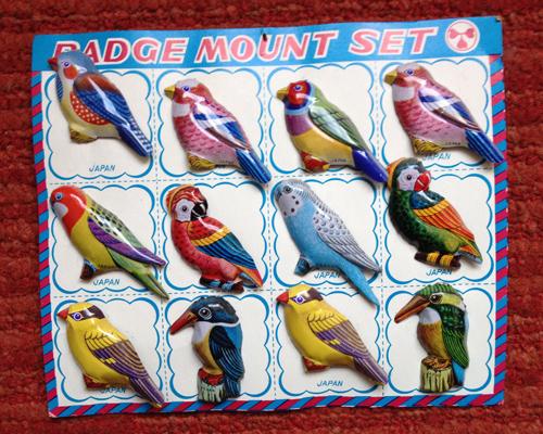 Japanese bird badge mount set