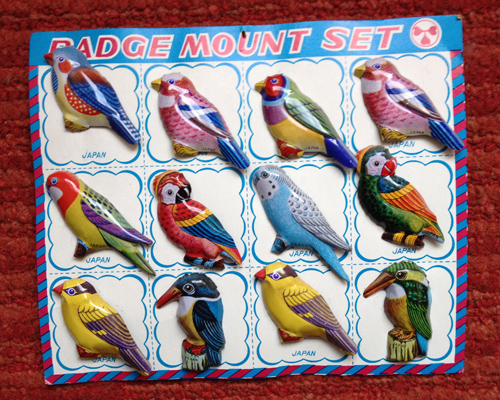 Japanese bird badge mount set