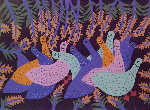 Ruan Sidi-Jinshan folk art-Ducks Eat Rice