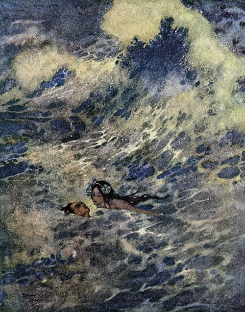 Edmund Dulac-She Held His Head Above The Water