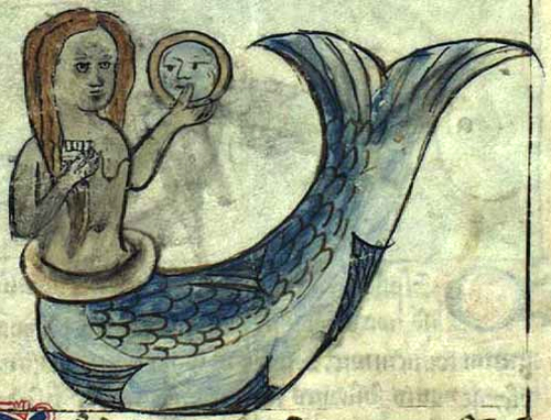 Medieval mermaid with mirror