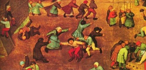 "Detail from Pieter Bruegel's ""Children's Games."""