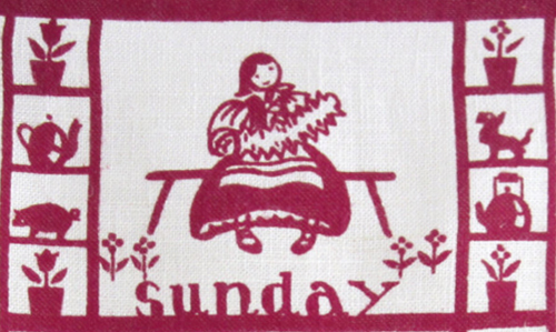 Sunday dishtowel detail