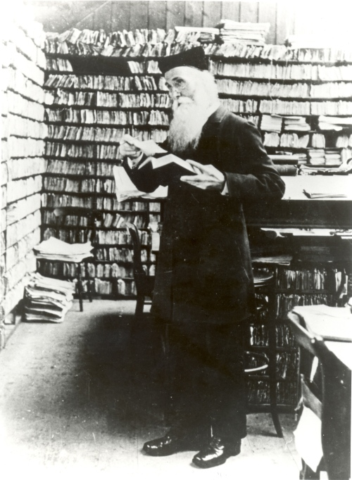 James Murray, principle editor of the OED, in his Scriptorium (also NOT compact.)