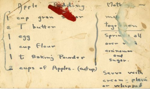 apple cake recipe card