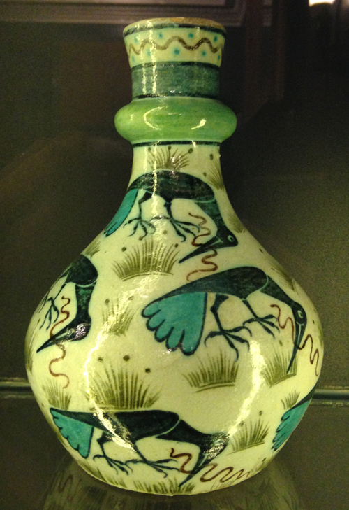 William De Morgan-Bottle with design of cranes killing snakes (1888 - 1907) Sands End Pottery, Fulham, London, England