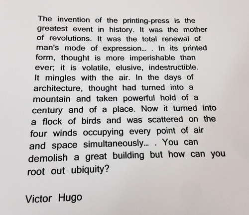 Letterpress Hugo quote for demo
