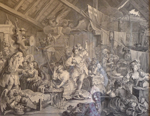 W Hogarth-Strolling Actresses in a Barn-1738
