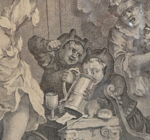 W Hogarth-Strolling Musicians In A Barn detail