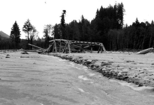 St. Helens bridge in mudflow, North Fork Toutle River, north ...