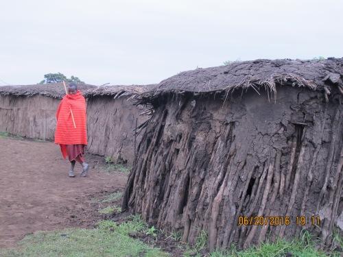 massai among huts