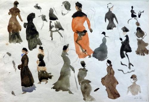 R Caldecott-studies of women in coats