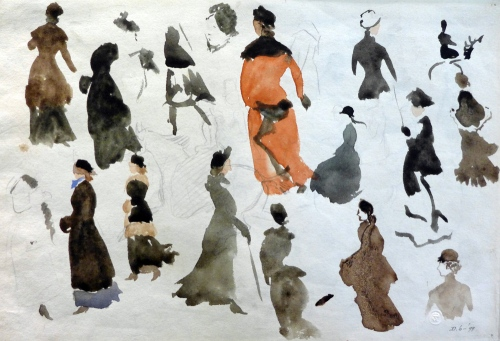 R Caldecott-studies of women in coats